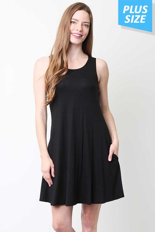 Little Black Tunic/Dress with Pockets - CURVY
