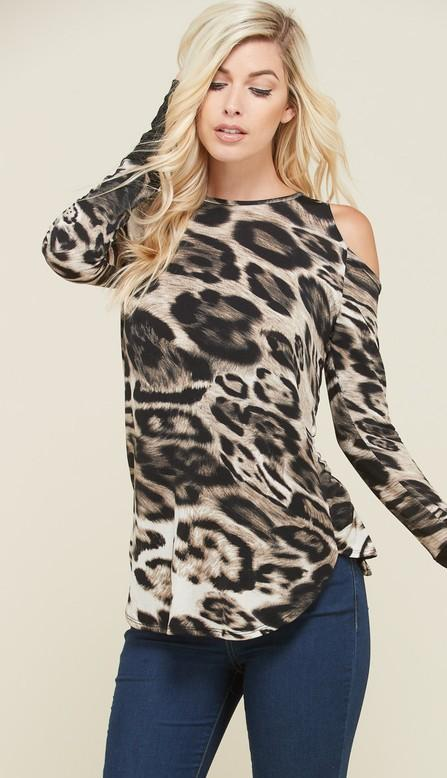Leopard Print Cold Shoulder Top with Thumbholes