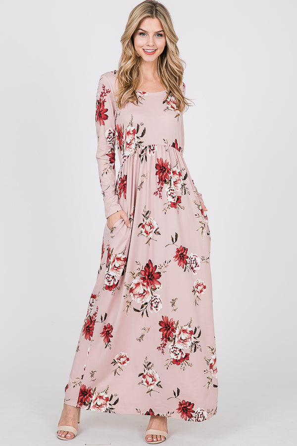 Floral Baby-Doll Maxi Dress with Pockets
