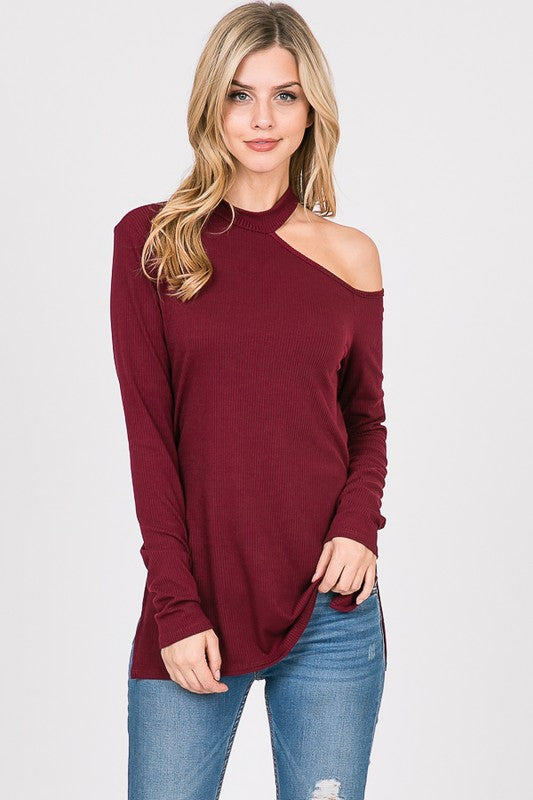 Ribbed Knit Mock Neck Top - Wine