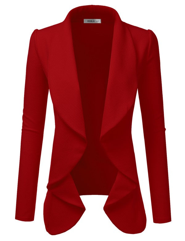 Classic Draped Open Front Blazer - Red