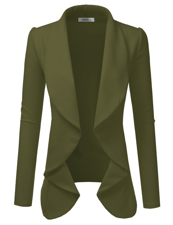 Classic Draped Open Front Blazer - Olive