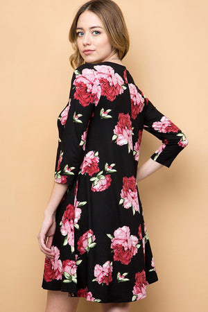 Floral Buttery Soft 3/4 Sleeve Tunic/Dress with Pockets - CURVY