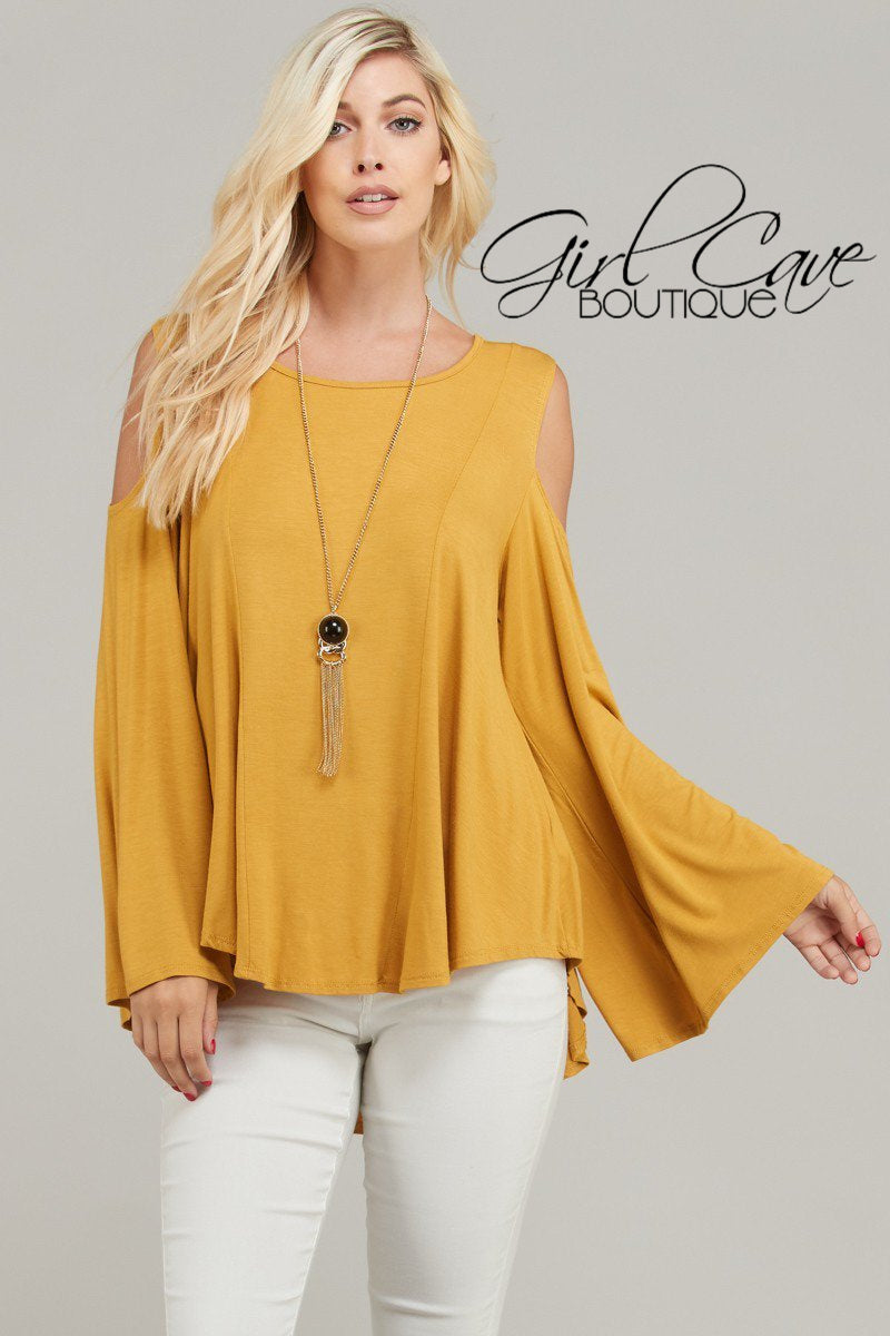Round-Neck, Long Fly Away Sleeve, Cold Shoulder Top in Dijon