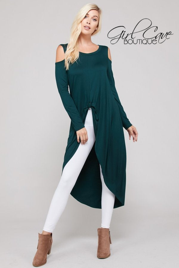 High-Low Cold Shoulder Top with Front Wrap