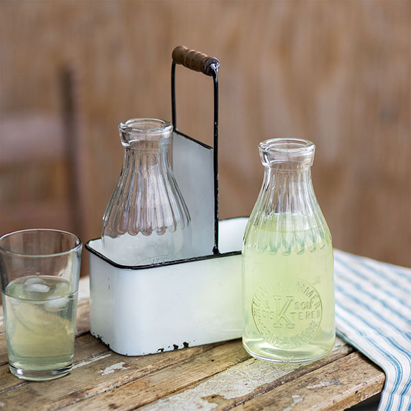 Double Milk Bottle and Rustic White with Black Trim Carrier With Glass Bottles