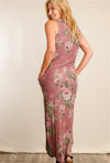 Deep Mauve Floral Maxi Dress with Pockets