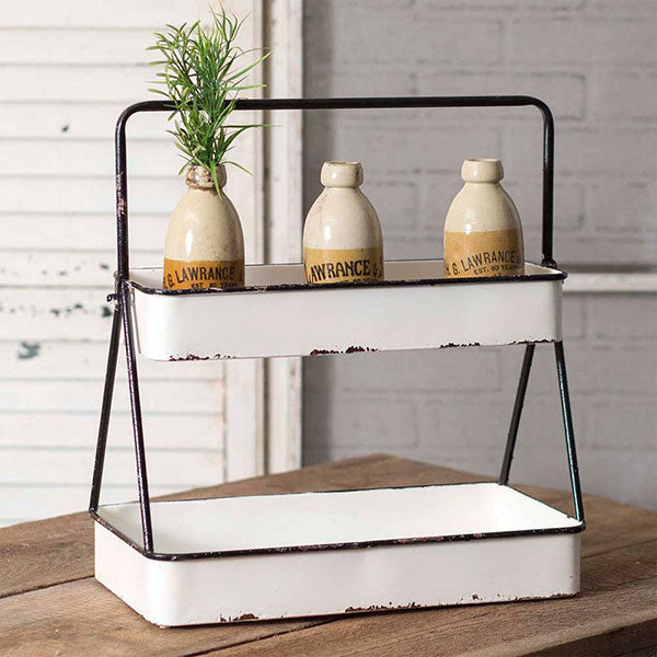 Rectangular Enamel Two Tier Stand