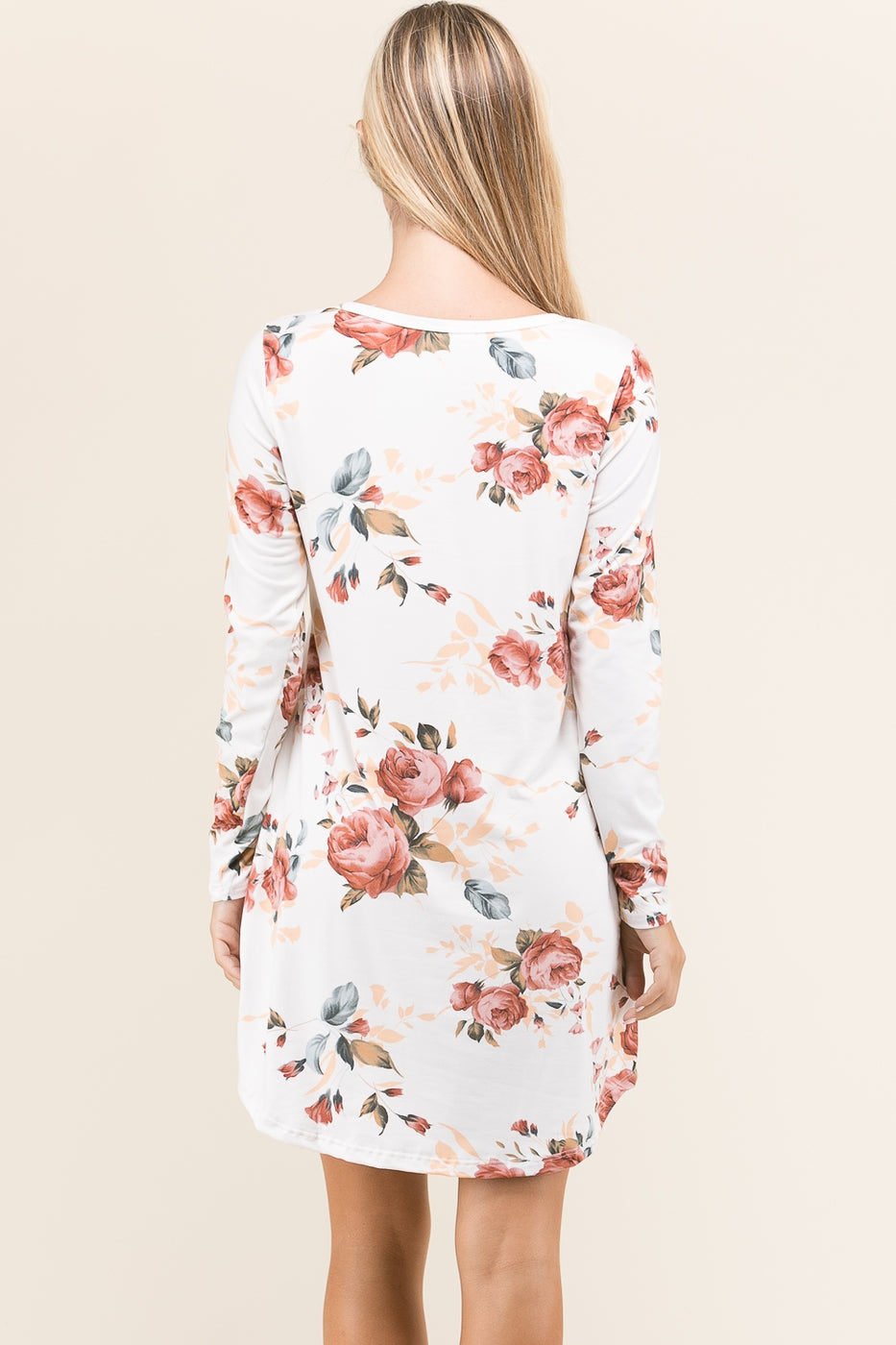 Ivory Floral Tunic Dress with Pockets