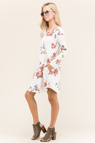 Stripe Floral Tunic Dress with Pockets