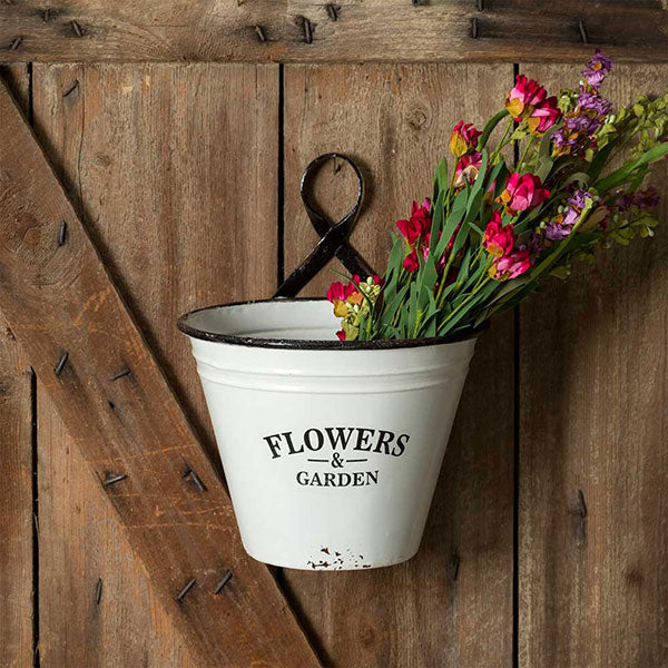 Enamelware Flowers and Garden Wall Planter