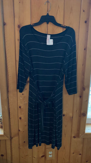 3/4 SleeveCharcoal Striped Dress with Tie Sash