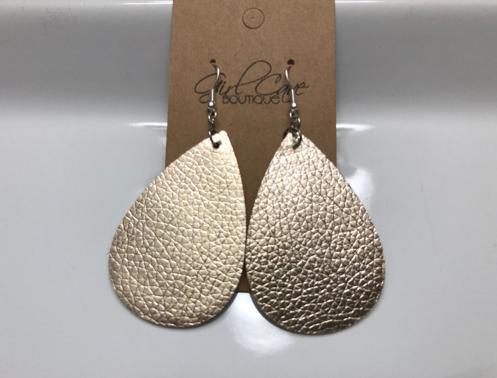Gold Metallic Faux Leather Teardrop Earrings