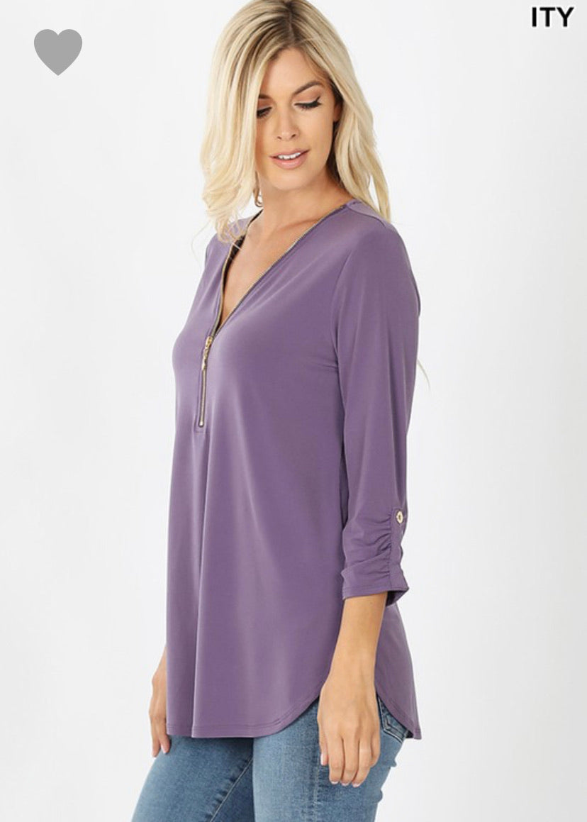 ITY FRONT ZIP-UP 3/4 SLEEVE TOP  CURVY
