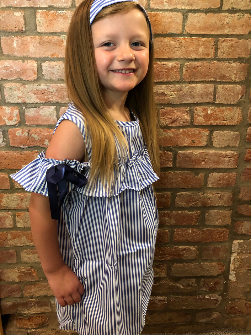Toddler / Girls Cold Shoulder Navy and White Striped Dress with matching headband