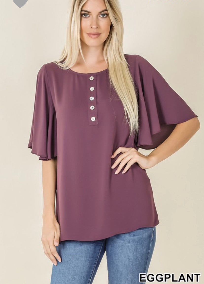 Woven Peach Waterfall Sleeve Button Front Top