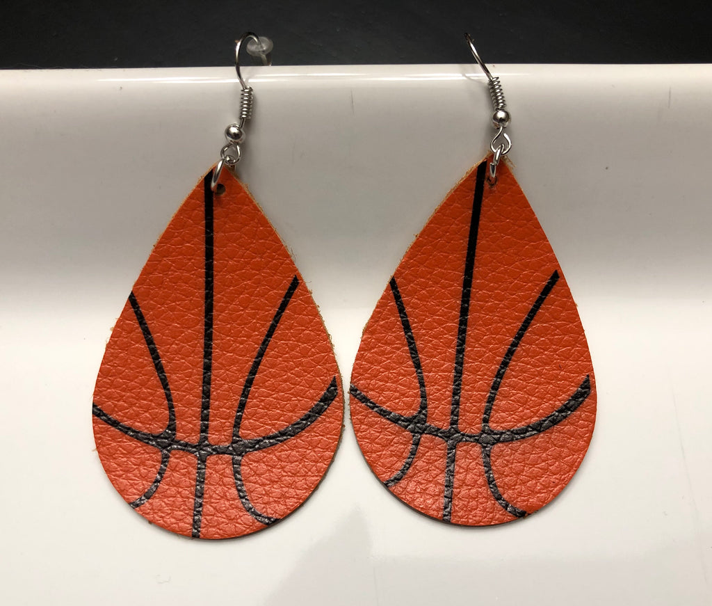 Basketball Genuine Leather Teardrop Earrings