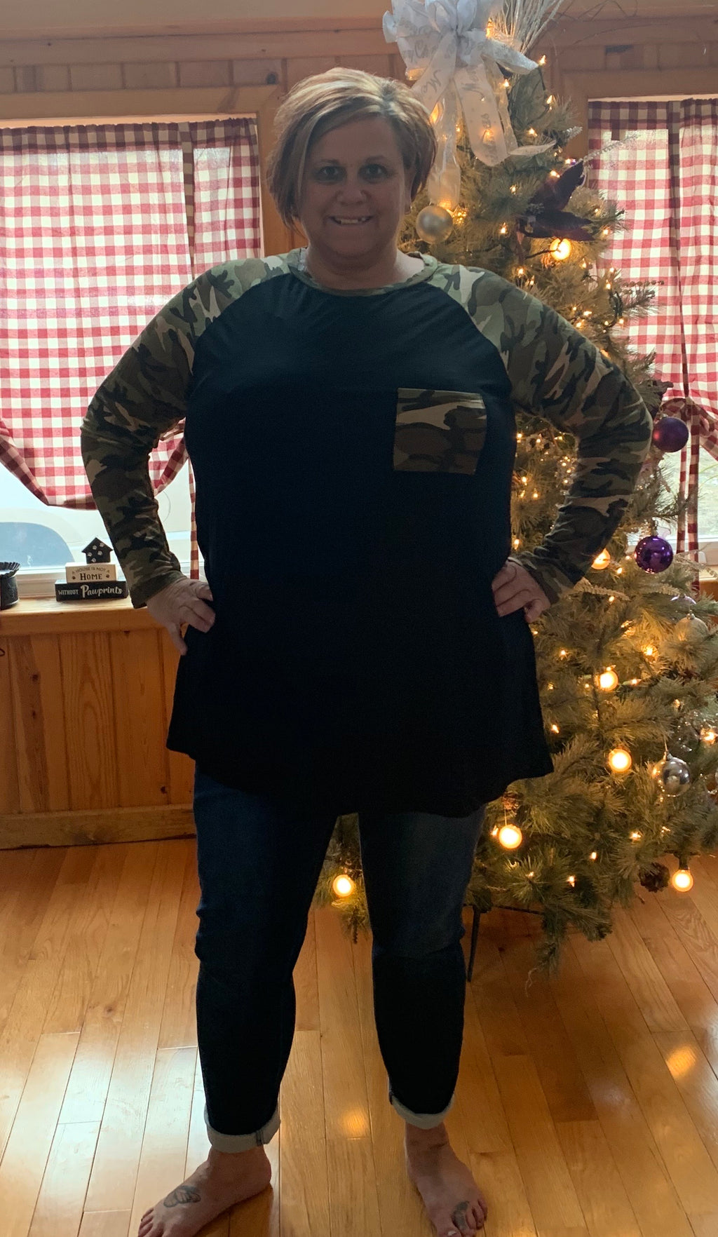 Long Sleeved Solid Black Shirt with Camoflauge Sleeves, Neckline and Pocket - CURVY