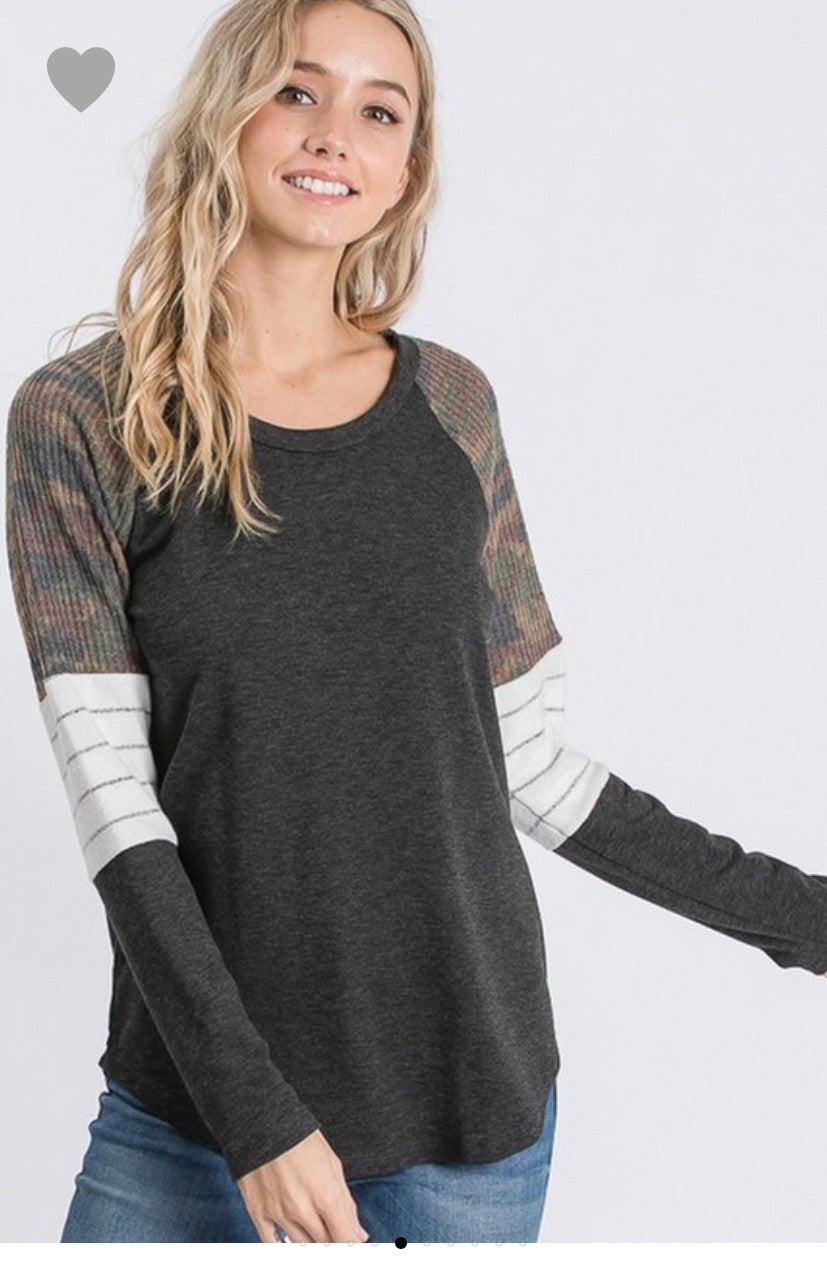 Color Block Pullover Top -Regular Sizes
