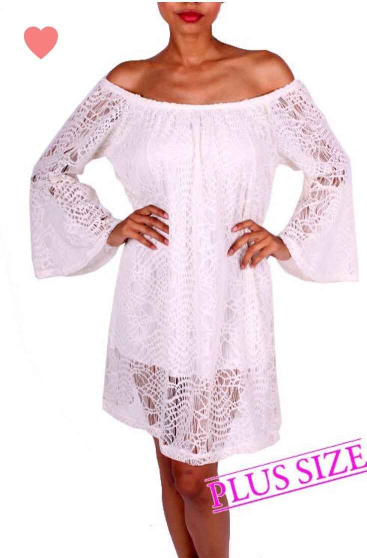 Ivory Solid Lace, Off the Shoulder Dress - CURVY
