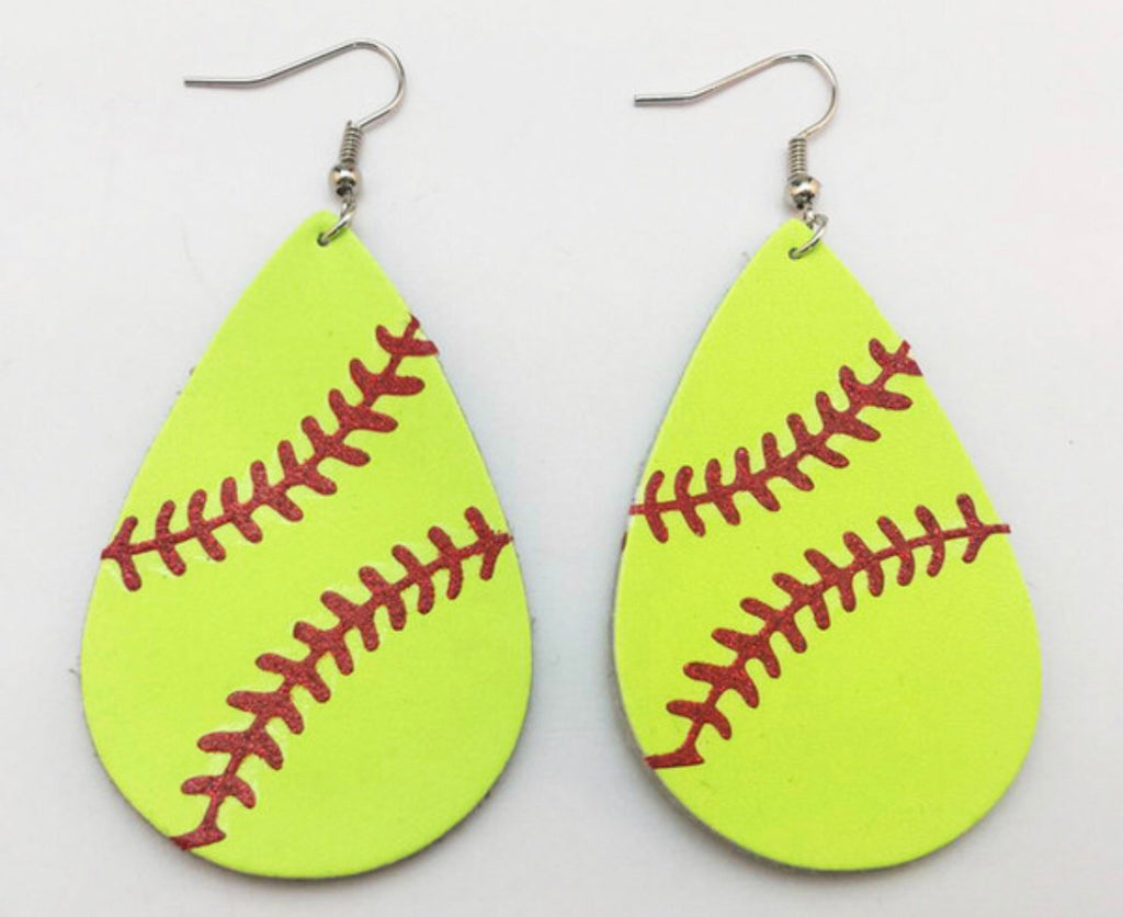 Softball Genuine Leather Teardrop Earrings