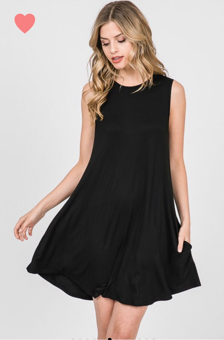 Little Black Dress with Button Back Detail - CURVY