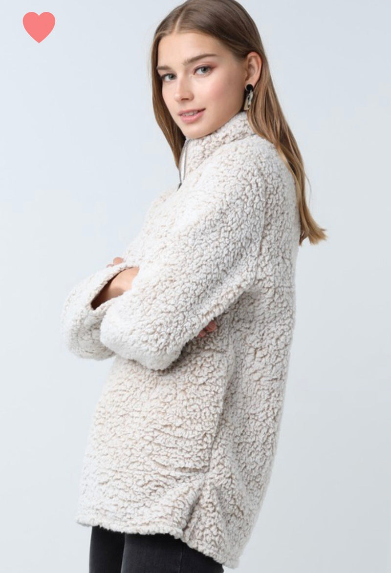 SUPER SOFT ZIP-UP SHERPA PULL OVER