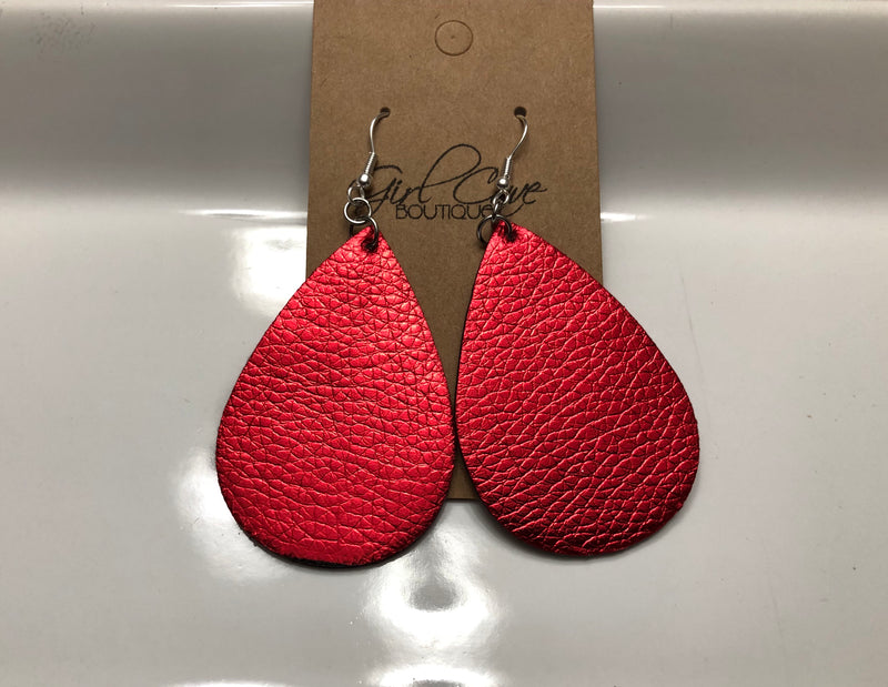 Red Metallic Faux Leather Teardrop Earrings