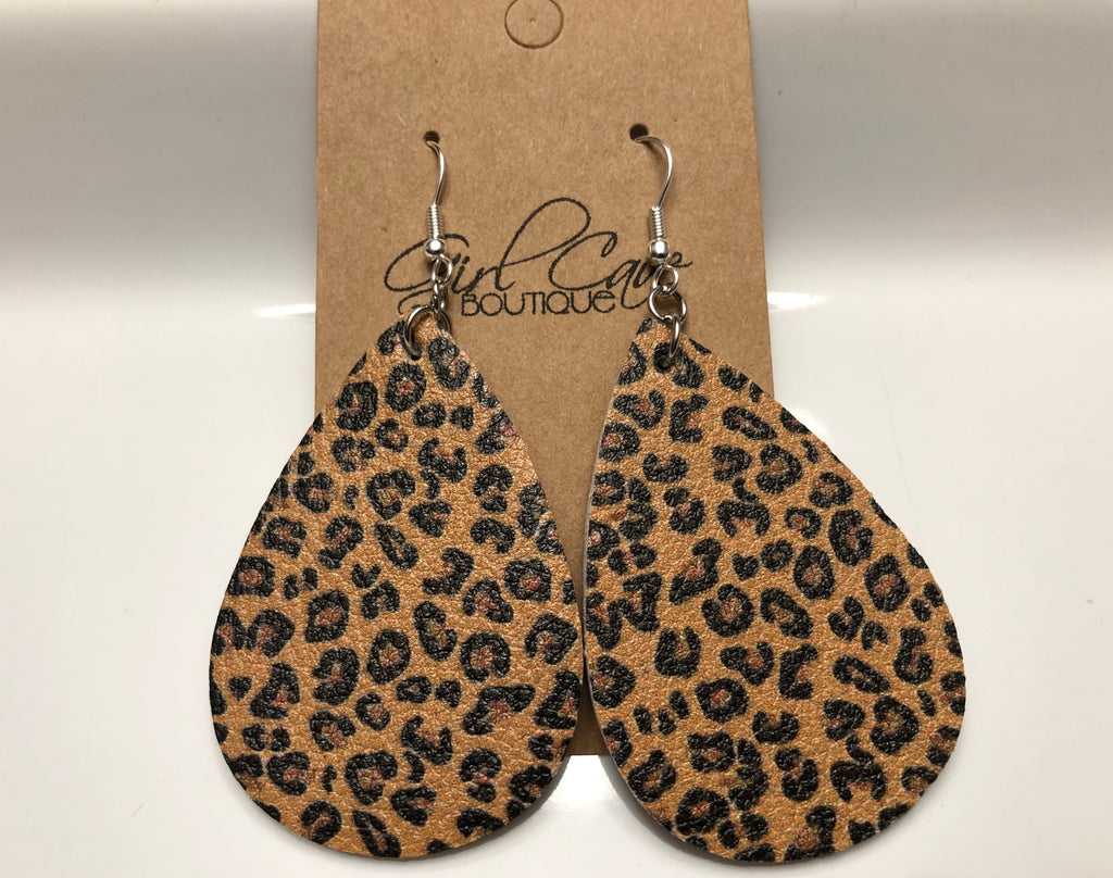 Leopard Print Faux Leather Teardrop Earrings