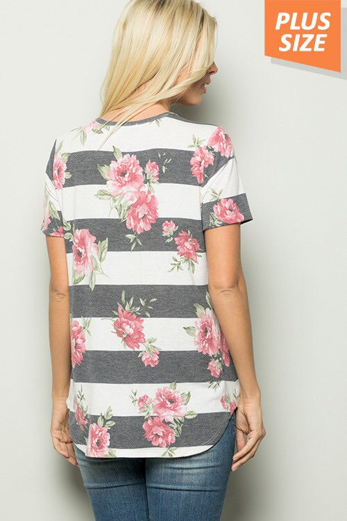 Super Soft and Super Cute Short Sleeve Stipe and Floral Print CrissCross Top - CURVY