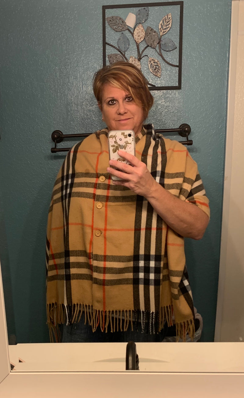 Super Cute Fall Colored Poncho Scarf with Buttons - ONE SIZE