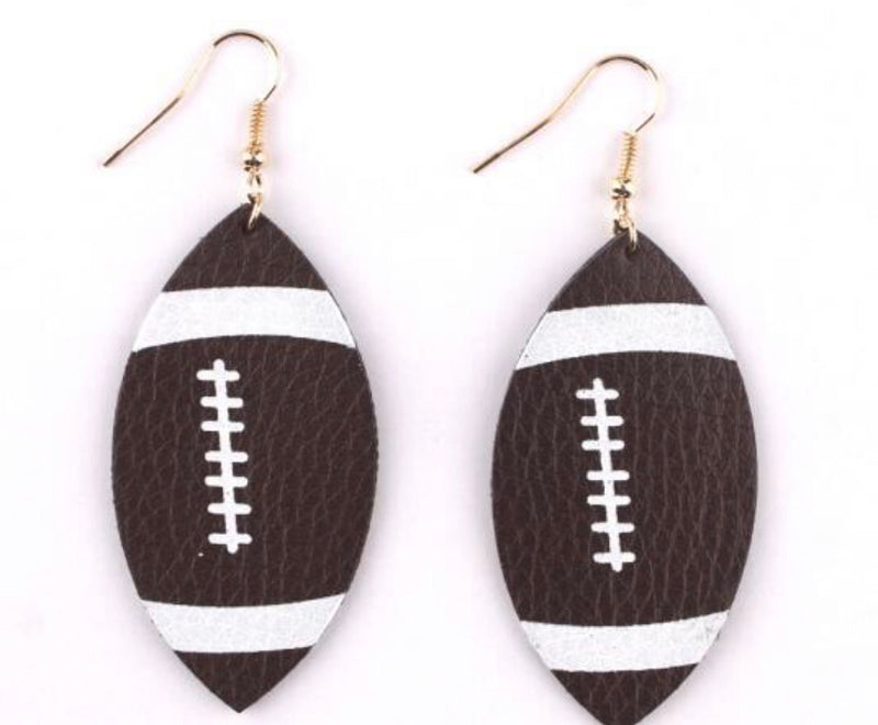Football Genuine Leather Earrings