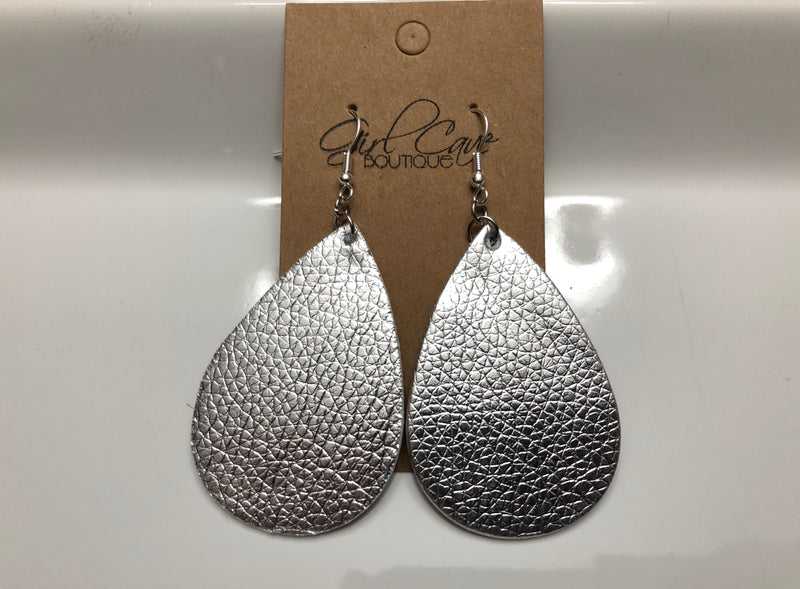 Silver Metallic Faux Leather Teardrop Earrings