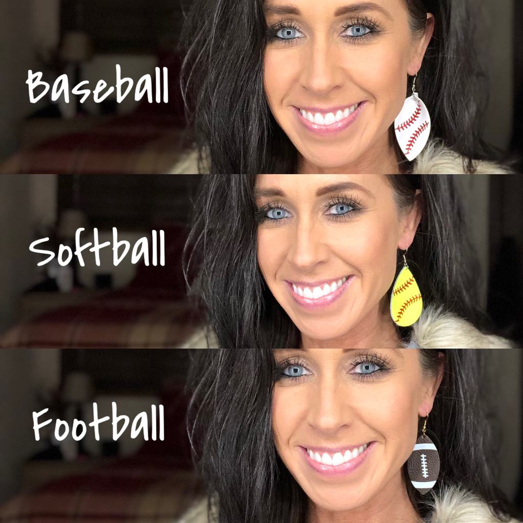 Baseball Genuine Leather Drop Earrings