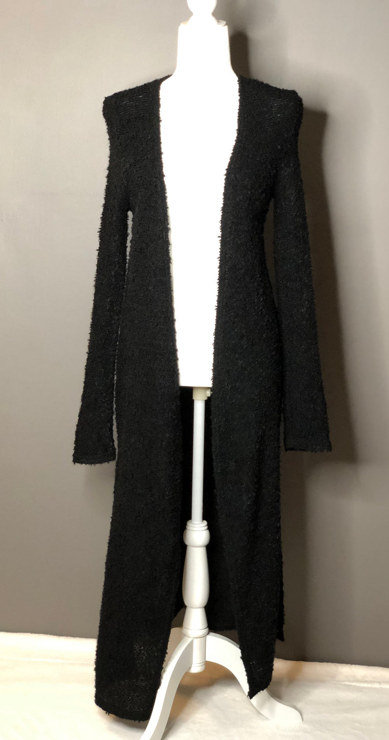 Long Sleeve Sweater Duster - BLACK