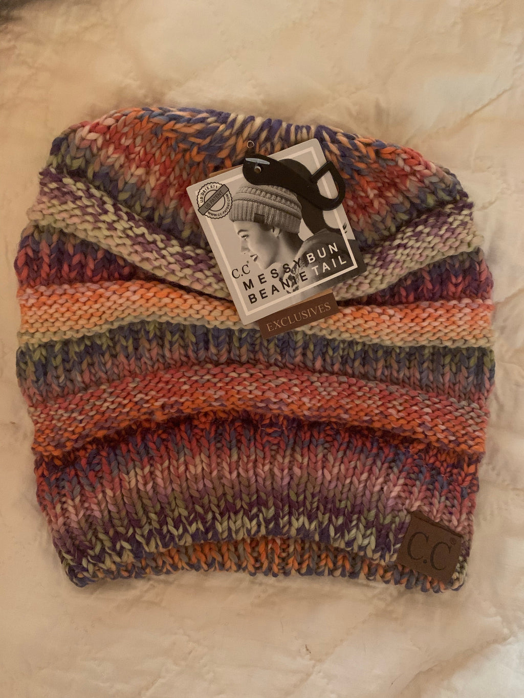 Super Cute C.C Messy Bun Beanie -Multicolored