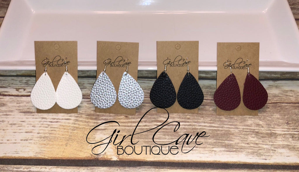 "Lightweight Leather ""Classic Mini"" Teardrop Earrings"