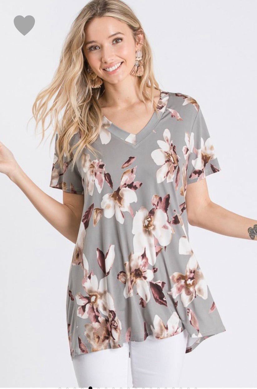 SHORT SLEEVE V NECK FLORAL PRINT TOP