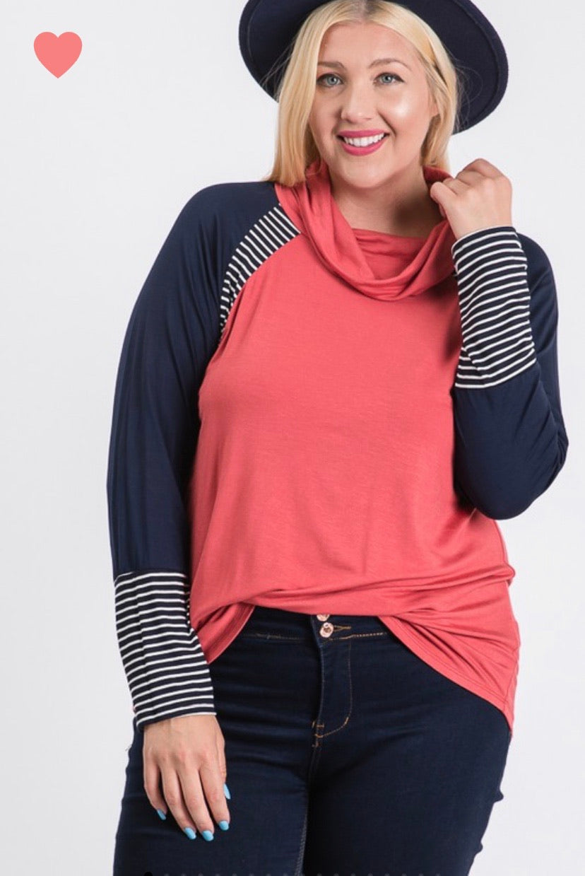Long Sleeve Coral and Navy Color Block with Striped Sleeves - CURVY