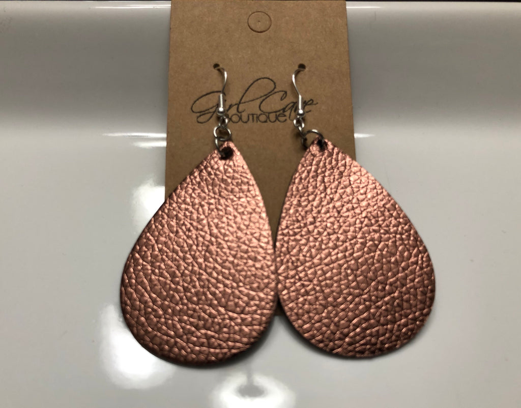 Rose Gold Metallic Faux Leather Teardrop Earrings