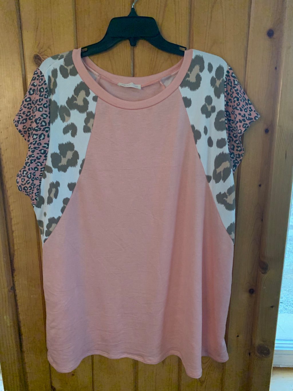Blush Leopard Capped Short Sleeve Top - CURVY