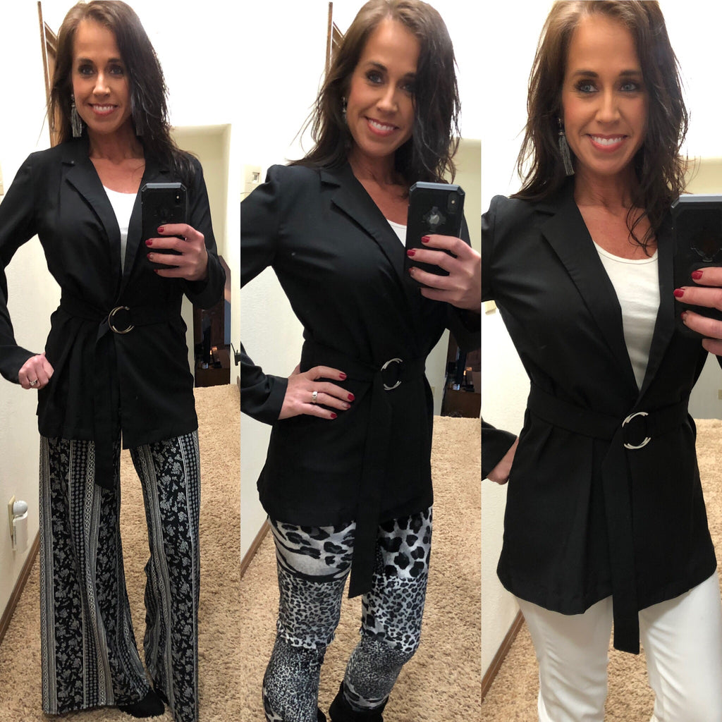 Black Blazer with Ring Belt Tie