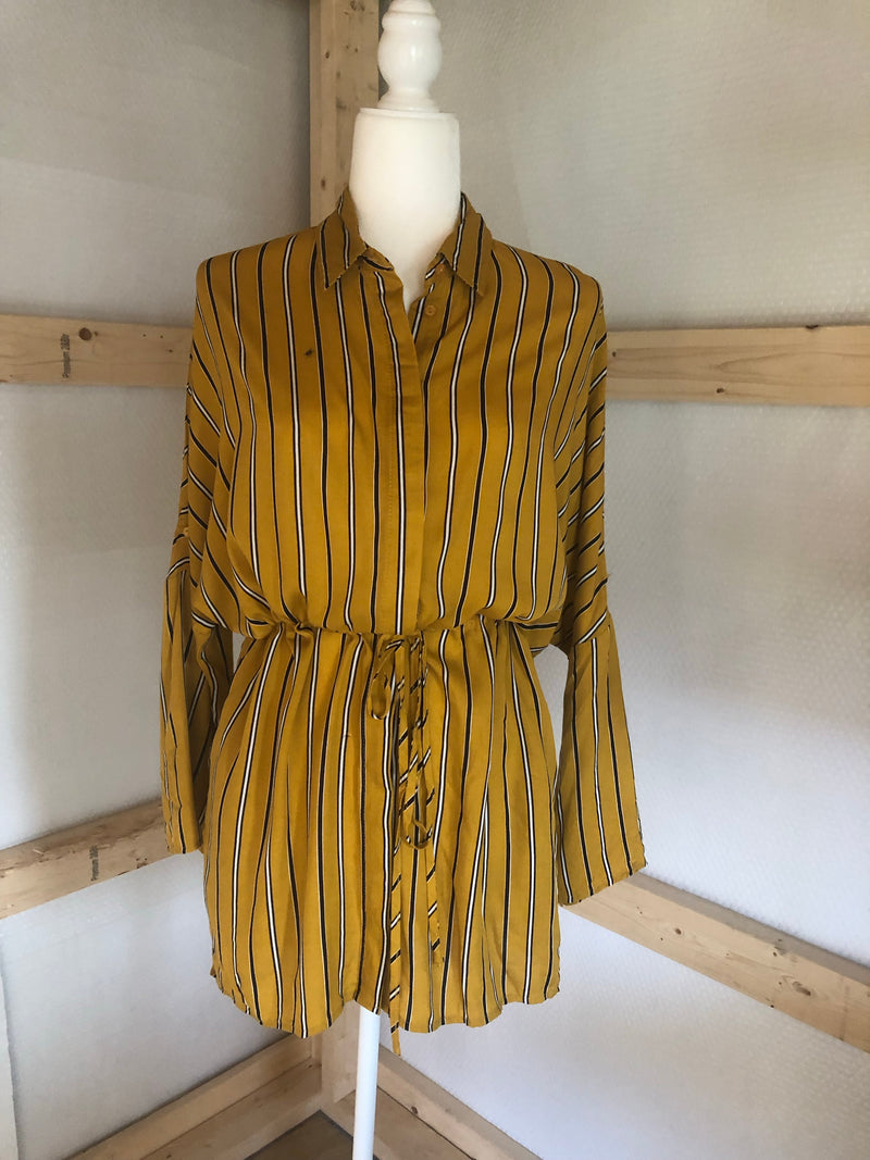 Mustard Button Up Dress W/ Navy Blue Stripe