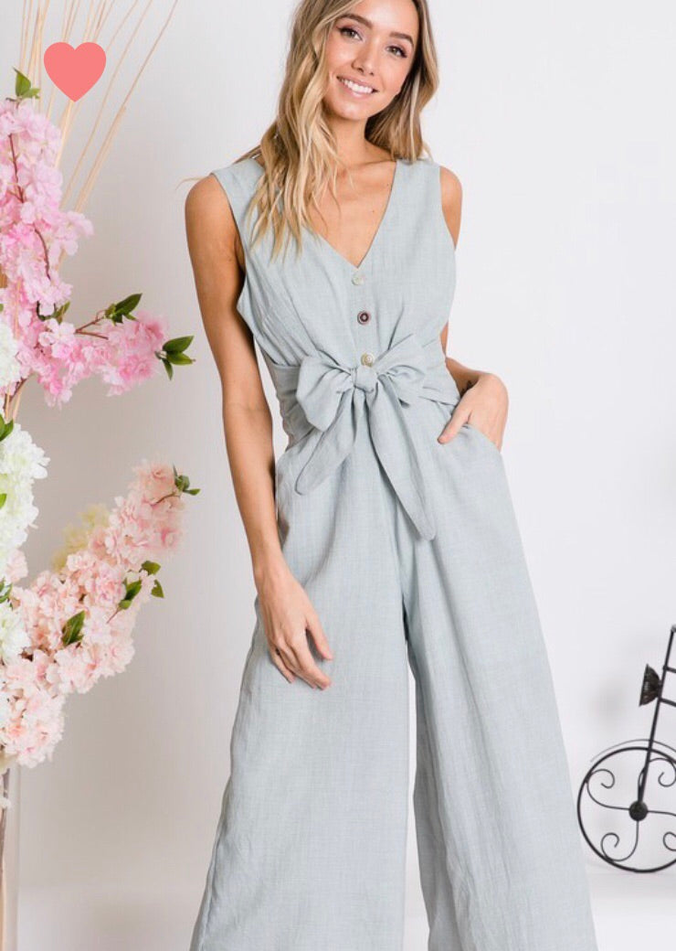 Button Down V Neck Jumpsuit