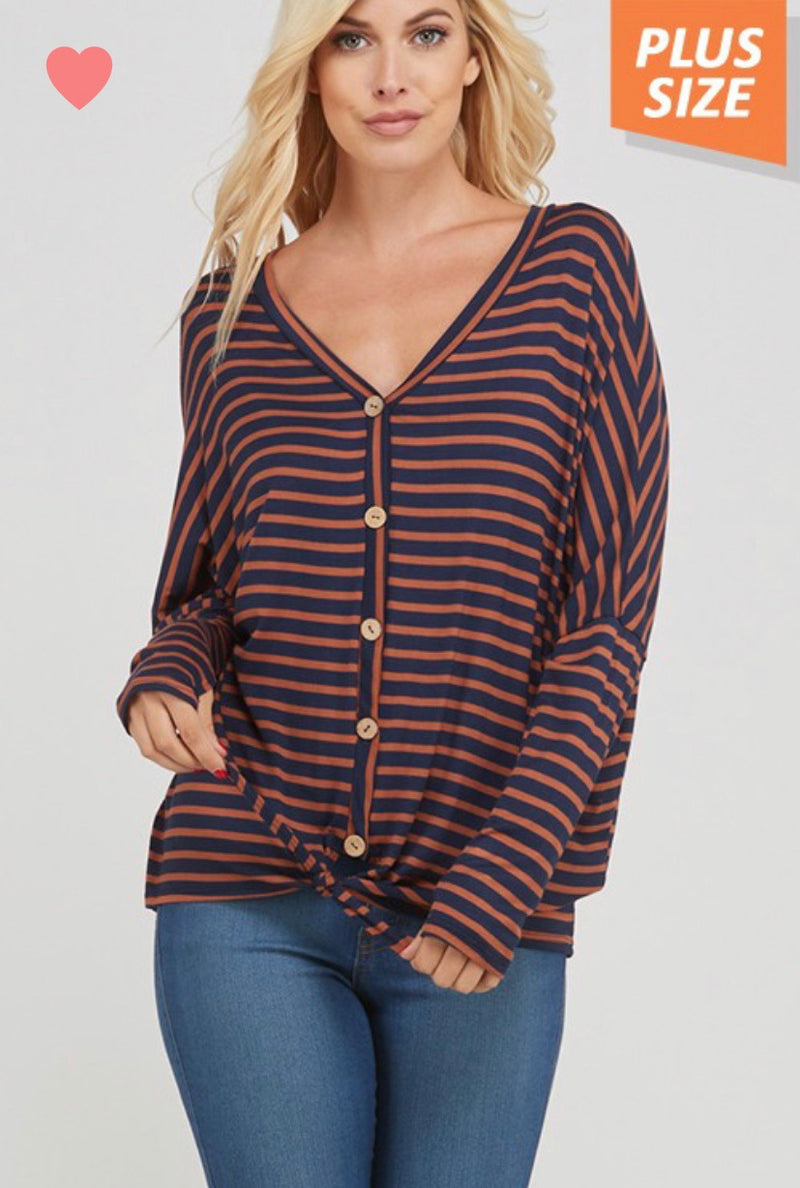 Cute and Casual Long Sleeved Button Up Shirt With Tie Front - Curvy