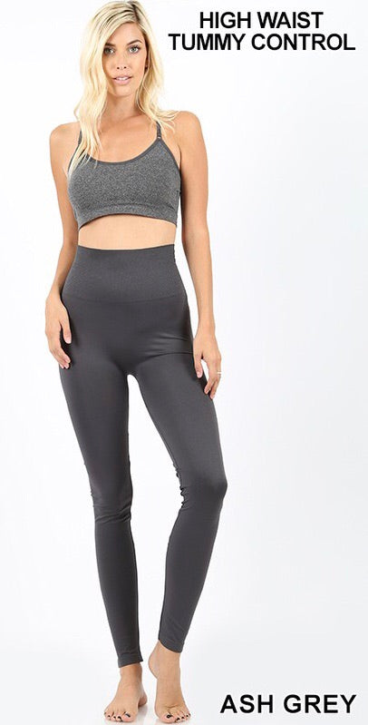High Waist Tummy Control Leggings - Ash Grey