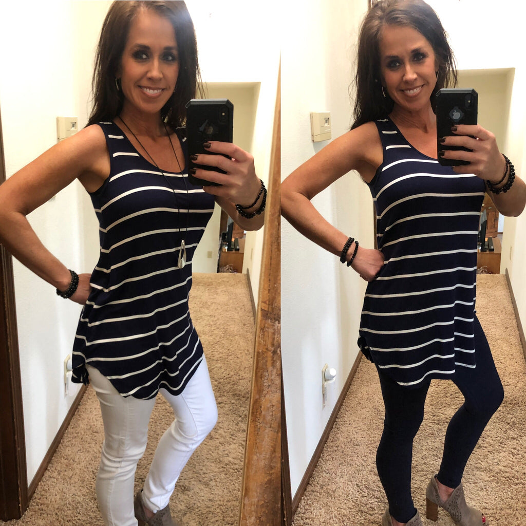 Navy Stripe Tank Top