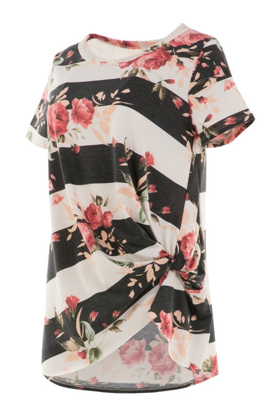 Adorable Short Sleeved Floral Print Knot Shirt