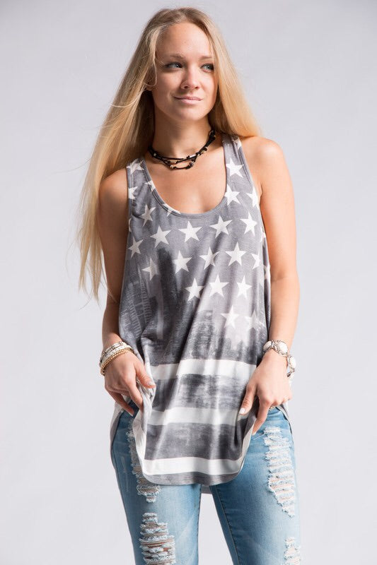 Sublimated Off White American Flag Tank