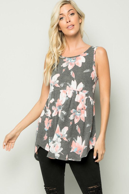 Sleeveless Charcoal Floral Baby Doll Top -Regular
